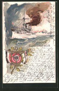 Lithographie Kriegsschiff auf hoher See, Deutscher Flottenverein