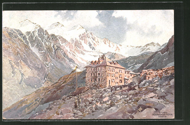 Künstler-AK Edward Theodore Compton: Stubai mit Nürnberger Hütte