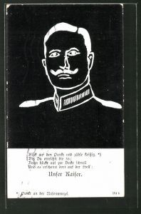 AK Kaiser Wilhelm II. als optische Täuschung: