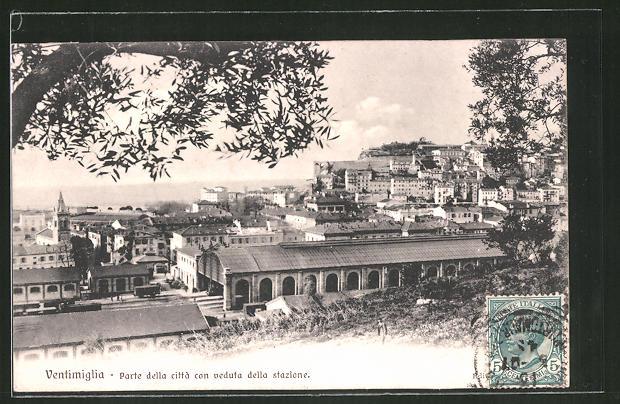 AK Ventimiglia, Parte della citta con veduta della stazione - Blick zum Bahnhof