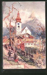 Künstler-AK Edward Harrison Compton: Langkampfen, Kirche gegen Treffauerspitze