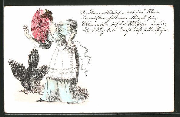 AK Dienstmagd mit Mühlrad vorm Gesicht und ein Rabe, frauenfeindlicher Humor, früher Druck