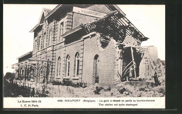 AK Nieuport, Durch Bombardement zerstörter Bahnhof