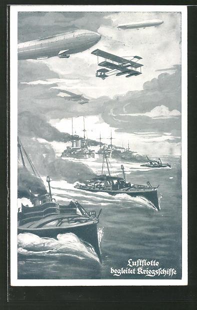 AK Zeppelin begleitet die Kriegsschiffe