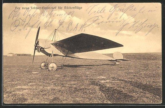 Foto-AK Sanke: Flugzeug Fokker-Eindecker für Rückenflüge vor dem Start