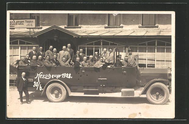 AK offener Bus mit Gästen vor einer Rundfahrt