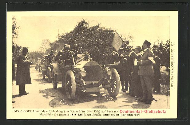 AK Reklame Continental-Gleitschutz, Herkomer-Konkurrenz 1907, E. Ladenburg auf Auto Benz, Autorennen
