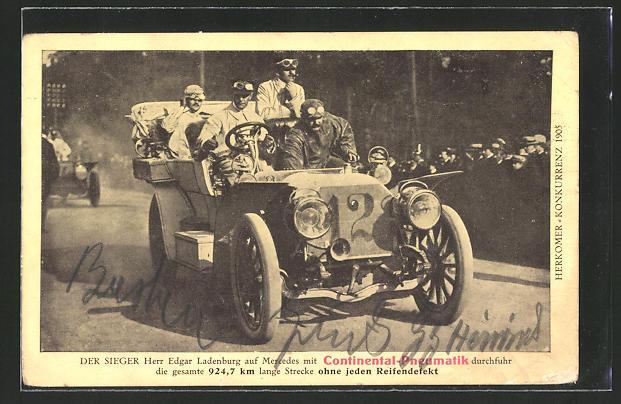 AK Reklame Continental-Pneumatik, Herkomer-Konkurrenz 1905, E. Ladenburg auf Auto Mercedes, Autorennen