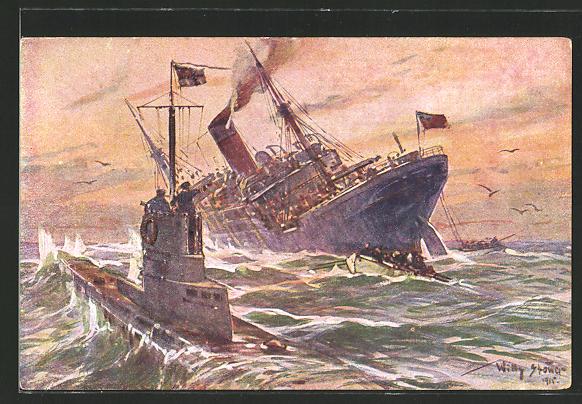 Künstler-AK Willy Stoewer: Vernichtung eines engl. Handelsdampfers durch dt. U-Boot