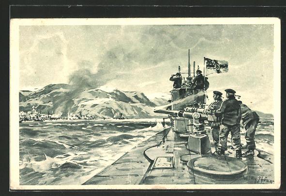Künstler-AK Willy Stoewer: Alexandrowsk, Dt. U-Boot im Eismeer, Soldaten beschiessen den Ort