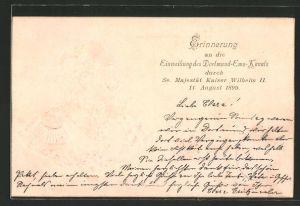 Präge-AK Seitenportrait Kaiser Wilhelm II. zur Erinnerung an die Einweihung des Dortmund-Ems-Kanals 1899