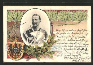 Lithographie Kaiser Wilhelm II. in Uniform, Wappen und Eichenlaub