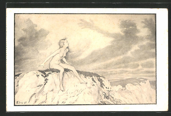 Künstler-AK Fidus: nacktes Mädchen auf den Felsen beobachtet angsteinflössende Wolken