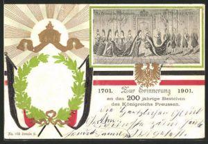 Präge-AK Kaiserin Auguste Victoria Königin von Preussen zur Erinnerung an 200 Jahre Königreich Preussen 1901