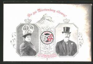 AK Silberne Hochzeit des Königspaares von Württemberg 1911, Ganzsache