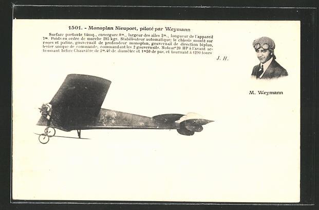 AK Monoplan Nieuport, piloté par Weymann, Flugzeug von Weymann