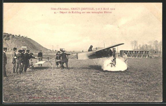 AK Nancy-Jarville, Fetes d'Aviation 1912, Kuhling im Blériot-Flugzeug