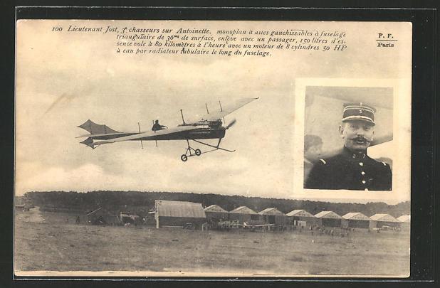AK Lieutenant Jost sur Antoinette Monoplan, Pilot Leutnant Jost im Antoinette-Flugzeug