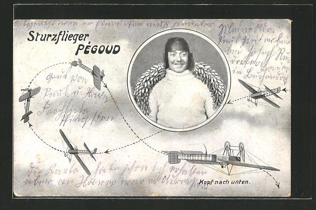 AK Flugzeug Pégoud mit Pilot fliegt eine Kopfüber-Drehung
