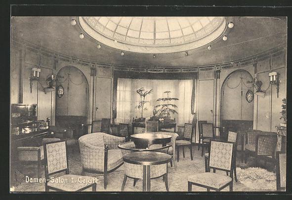 AK Damensalon 1. Kajüte des Passagierschiffs der Hamburg-Amerika-Linie