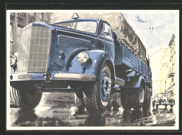 Künstler-AK Der neue Mercedes-Benz, Typ L 6600, Lastkraftwagen