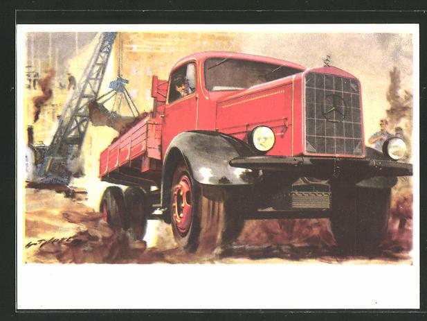 Künstler-AK Mercedes-Benz Lastkraftwagen Typ L 5000
