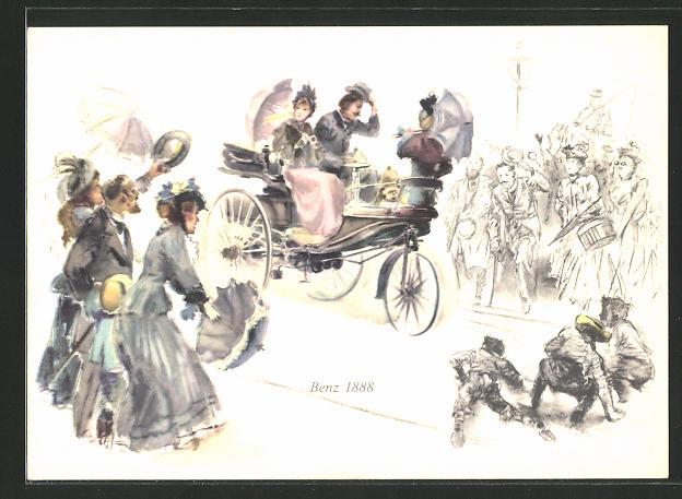 Künstler-AK Benz 1888, motorisiertes Dreirad