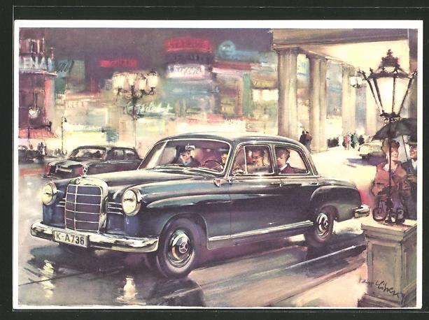 Künstler-AK Mercedes-Benz 190, Autoreklame