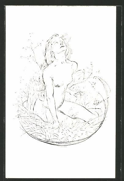 Künstler-AK Fidus: Sonnenkind, nackte Frau auf der Wiese