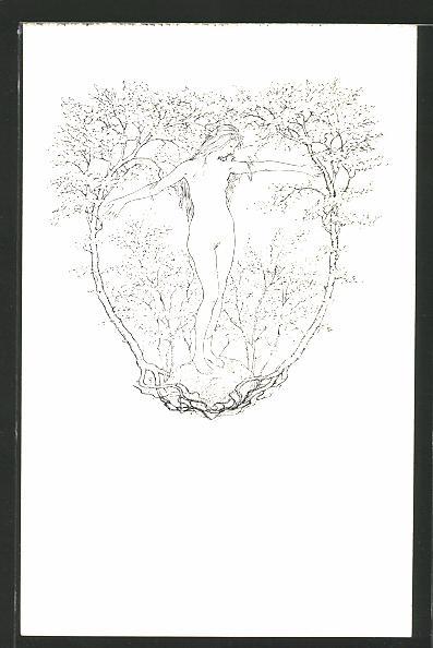 Künstler-AK Fidus: Sommermärchen, nacktes Mädchen zwischen Bäumen