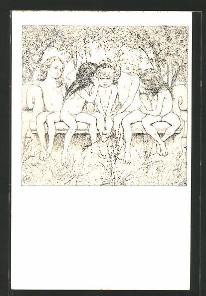 Künstler-AK Fidus: Der Undankbare, Kinder auf einem Sofa im Wald