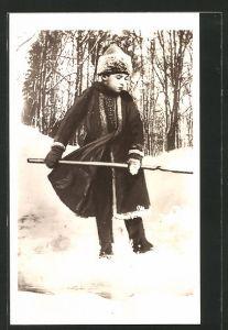 AK Zarewitsch Alexej von Russland im Winter beim Schnee Schaufeln
