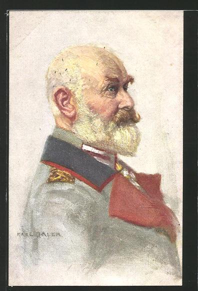 Künstler-AK König Wilhelm II. von Württemberg in Uniform im Profil