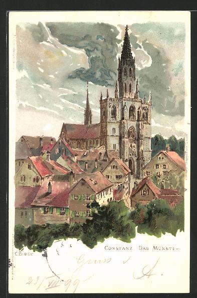 Künstler-Lithographie Carl Biese: Constanz, das Münster