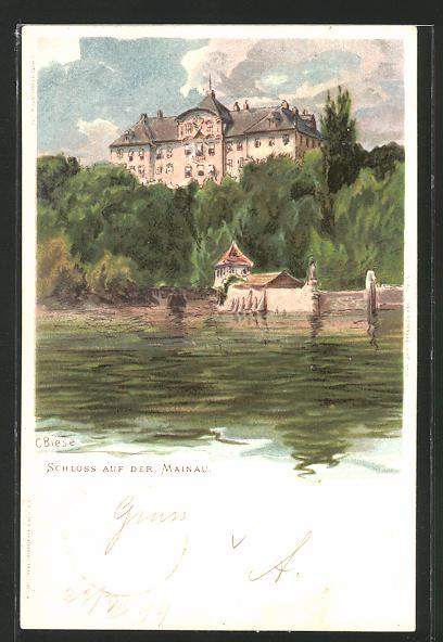 Künstler-Lithographie Carl Biese: Schloss auf der Mainau