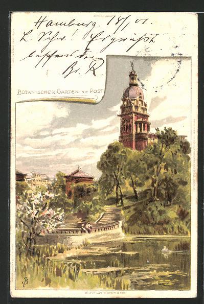 Künstler-Lithographie Carl Biese: Hamburg, Botanischer Garten mit Post