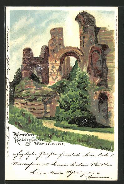 Künstler-Lithographie Carl Biese: Trier, Ruine des Kaiserpalastes