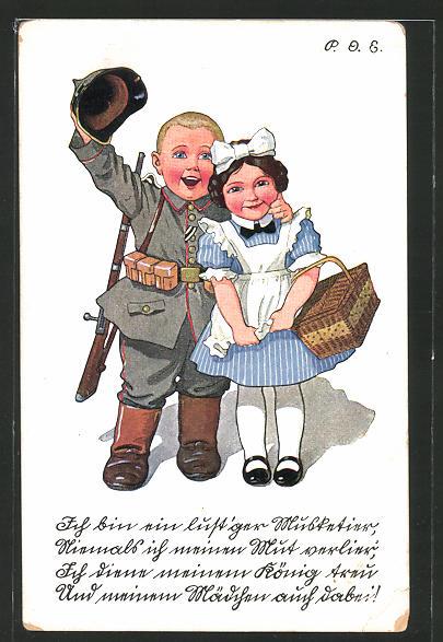 Künstler-AK P. O. Engelhard (P.O.E.): Ich bin ein lust'ger Musketier..., kleiner Soldat und Maid