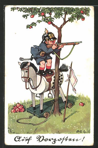 Künstler-AK P. O. Engelhard (P.O.E.): Auf Vorposten!, Kind auf Schaukelpferd spielt Soldat