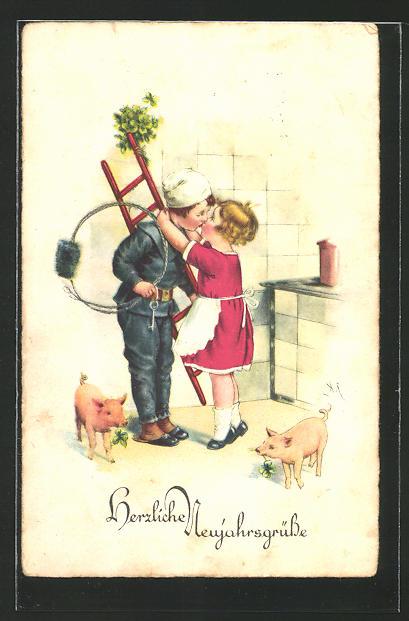 AK Neujahrsgrüsse, Mädchen küsst kleinen Schornsteinfeger