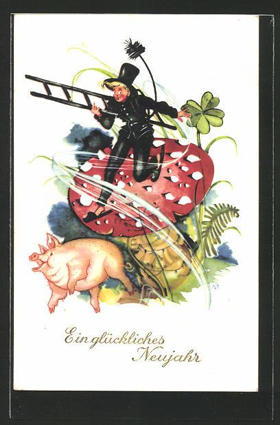 AK Ein glückliches Neujahr, Schornsteinfeger, Schwein und Fliegenpilz