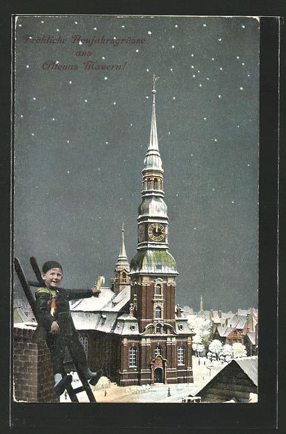 AK Hamburg-Altona, Hauptkirche, Neujahrsgrüss, kleiner Schornsteinfeger