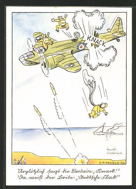 Künstler-AK Flieger-Humor, Urplötzlich sagt die Blenheim