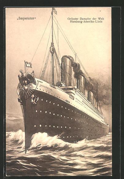 AK Hamburg-Amerika Linie, Passagierschiff Imperator, grösster Dampfer der Welt