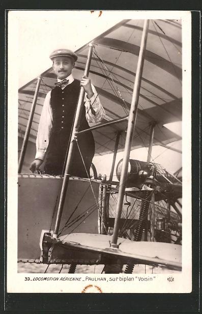 AK Locomotion Aérienne, Paulhan sur biplan Voisin, Pilot in Flugzeug