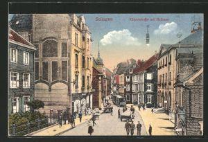 AK Solingen, Kölnerstrasse mit Rathaus und Strassenbahn
