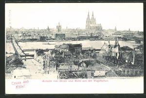 AK Köln-Deutz, Blick auf Deutz aus der Vogelschau