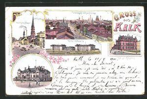 Lithographie Köln-Wahn, Wallfahrts-Kapelle, Kronprinz-Kaserne, Kaiserl. Postamt, Offizier-Casino