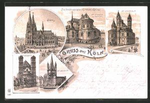 Lithographie Köln, Dom, St. Aposteln, St. Martin und St. Gereon