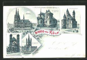 Mondschein-Lithographie Köln, Dom, St. Martin, St. Gereon & St. Aposteln